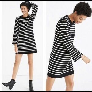 Madewell wool striped sweater dress black/white
